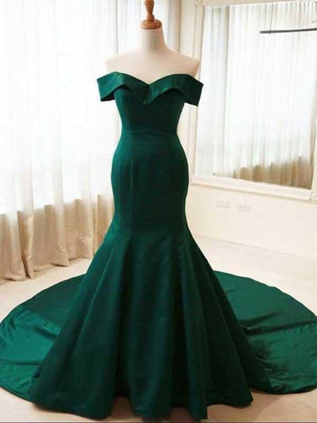 Mermaid Off Shoulder Green Satin Long Prom Dresses,FPPD056