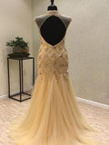 See Through Mermaid Gold Beaded Long Prom Dresses With Open Back,FPPD021