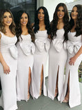 Sexy Mermaid Two Straps Side Slit White Long Bridesmaid Dresses With Bowknot,FPWG211