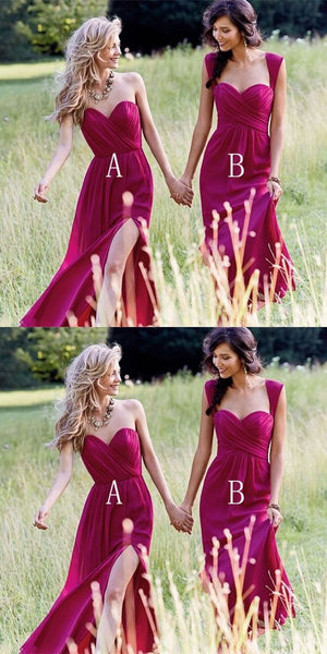 A-Line Mismatched Chiffon Burgundy Long Bridesmaid Dresses,FPWG021