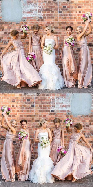 A-Line Mismatched Sleeveless Jersey Long Bridesmaid Dresses,FPWG024