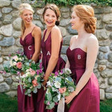 A-Line Mismatched Burgundy Satin Long Bridesmaid Dresses,FPWG020