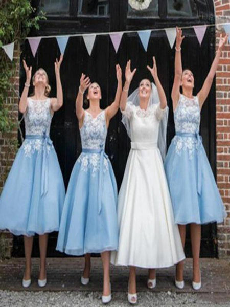 Illusion Lace Light Blue Organza Short Bridesmaid Dresses With Appliques,FPWG030