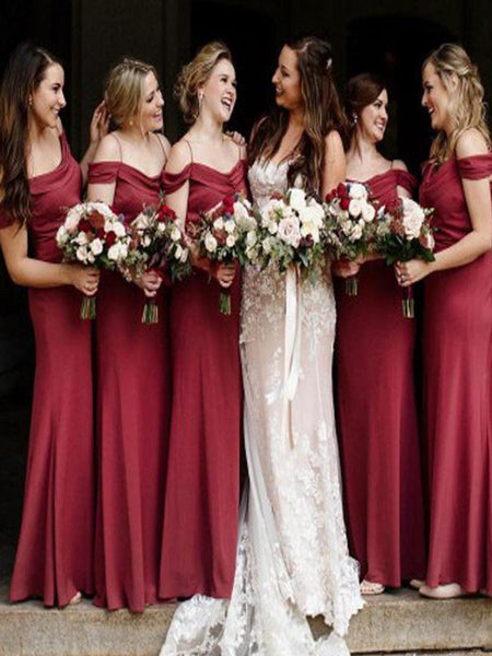 A-Line Off Shoulder Burgundy Long Bridesmaid Dresses Online,FPWG025
