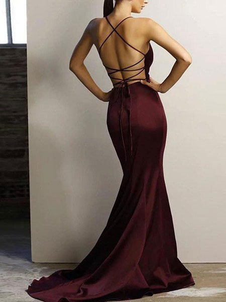 Sexy Deep V-Neck Spaghetti Straps Satin Long Prom Dresses,FPPD024