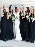 A-Line Halter Black Chiffon Floor Length Bridesmaid Dresses,FPWG016