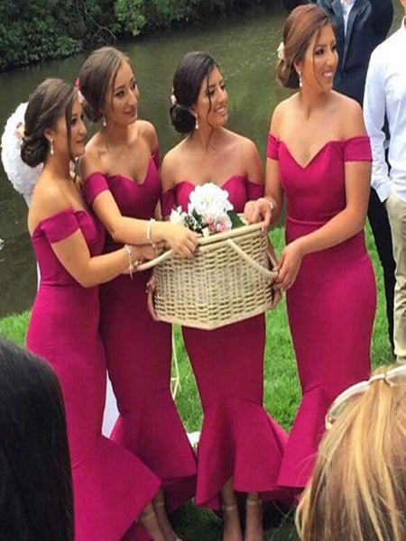 Sexy Mermaid Off Shoulder Rose Red Satin Tea Length Bridesmaid Dresses,FPWG036