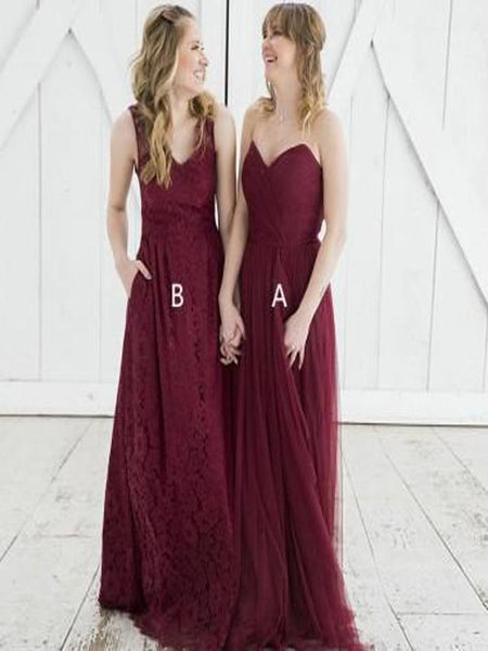 A-Line Mismatched Burgundy Long Bridesmaid Dresses,FPWG019