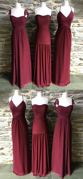 A-Line Mismatched Burgundy Chiffon Long Bridesmaid Dresses,FPWG018