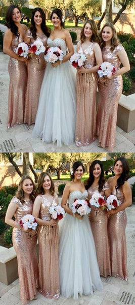 Mermaid Mismatched Sequined Cheap Long Bridesmaid Dresses,FPWG031