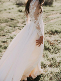 A-Line Chiffon Lace Appliqued Long Sleeve Beach Wedding Dresses,FPWD025