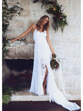 A-Line Spaghetti Straps Lace Chiffon Side Slit Long Beach Wedding Dresses,FPWD031