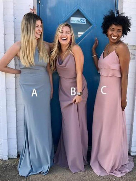 A-Line Mismatched Chiffon Cheap Long Bridesmaid Dresses,FPWG022