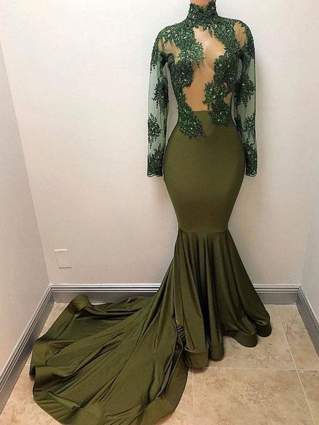 See Through Long Sleeves Olive Satin Long Prom Dresses Online,FPPD019