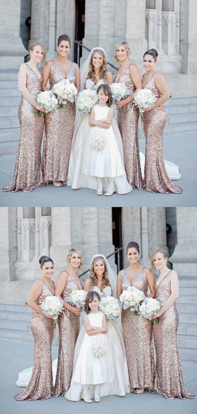 Sexy Mermaid Deep V-Neck Sequined Long Bridesmaid Dresses,FPWG035
