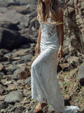 A-Line Lace Spaghetti Straps Long Beach Wedding Dresses,FPWD029