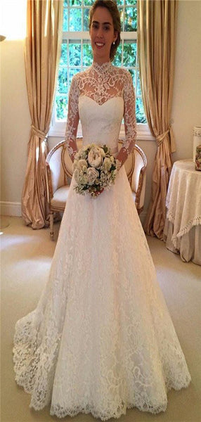 A-Line High Neck Long Sleeve Lace Wedding Dresses With Open Back,FPWD026
