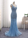Sexy Mermaid Blue Two Straps Tulle Long Prom Dresses With Beading,FPPD026