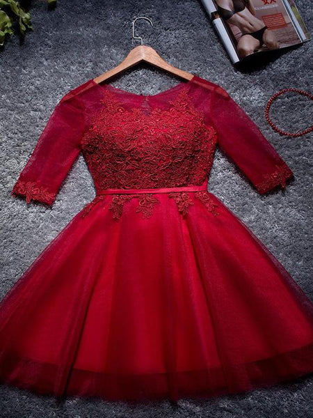 A-Line Red Scoop Neckline 3/4 Sleeves Homecoming Dresses,FPBD018