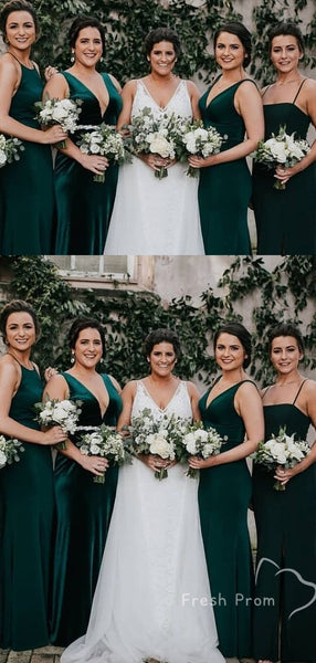 Sexy Mermaid Mismatched Sleeveless Cheap Long Bridesmaid Dresses Online,FPWG276