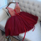 A-Line V-Neck Tulle Red Two Straps Homecoming Dresses,FPBD034