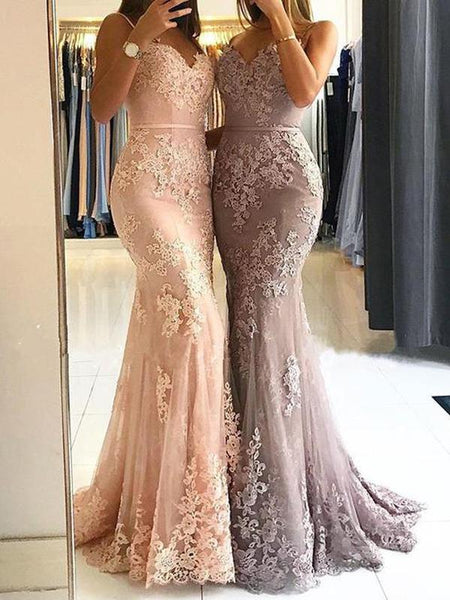 Sexy Dusty Pink Sweetheart Spaghetti Straps Lace Mermaid Floor Long Custom Evening Prom Dresses,FPPD025