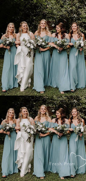 A-Line V-Neck Spaghetti Straps Off Shoulder Chiffon Long Bridesmaid Dresses,FPWG280