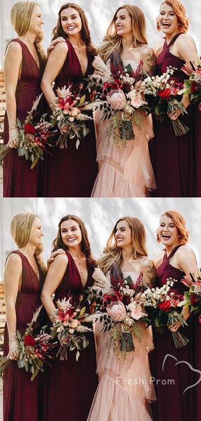 A-Line V-Neck Sleeveless Burgundy Jersey Affordable Long Bridesmaid Dresses,FPWG281
