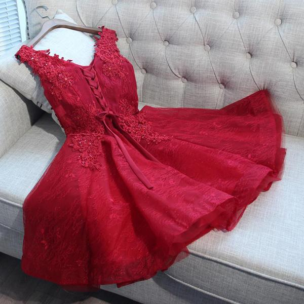 A-Line V-Neck Red Tulle Sleeveless Homecoming Dresses With Appliques,FPBD032