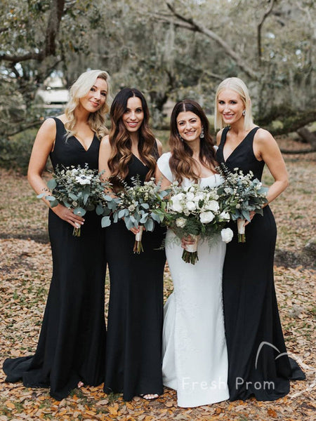 Sexy Mermaid V-Neck Sleeveless Black Floor Length Bridesmaid Dresses,FPWG282