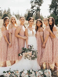 A-Line Off Shoulder&Round Neck Lace Cheap Tea Length Bridesmaid Dresses,FPWG284