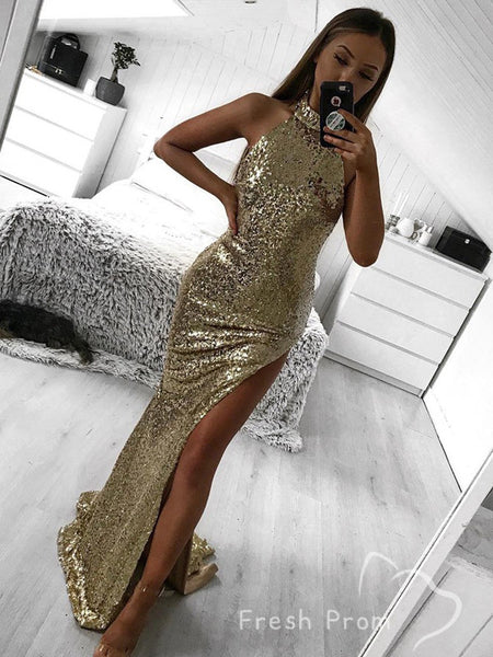 Alluring Mermaid High Neck Sleeveless Sequined Long Prom Dresses With Split Side,FPPD284