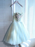 A-Line Tulle Spaghetti Straps Sweetheart Homecoming Dresses With Appliques,FPBD027
