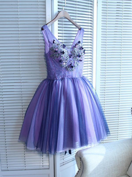 A-Line V-Neck Tulle Grape Homecoming Dresses With Beading,FPBD033