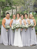 A-Line Round Neck Sleeveless Chiffon Cheap Long Bridesmaid Dresses Online,FPWG288