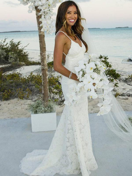 7472a3c8e563f Sexy Mermaid Spaghetti Straps V-Neck Long Beach Wedding Dresses With  Lace,FPWD051