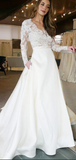 Alluring A-Line Deep V-Neck Long Sleeves Laced Long Wedding Dresses With Pockets,FPWD040
