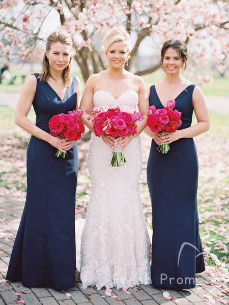 Simple Mermaid V-Neck Sleeveless Floor Length Cheap Long Bridesmaid Dresses,FPWG294