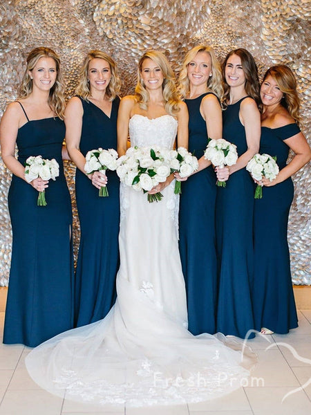 New Arrival Mermaid Navy Blue Mismatched Affordable Custom Long Bridesmaid Dresses,FPWG295