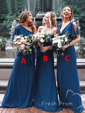 A-Line Mismatched Chiffon Custom Affordable Fall Long Bridesmaid Dresses,FPWG299