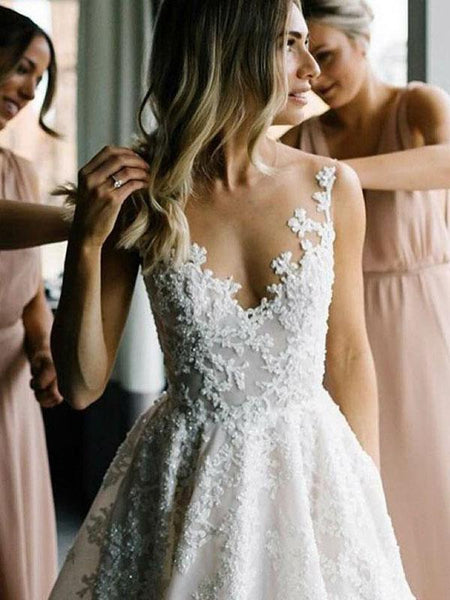 A-Line Scoop Neckline Sleeveless Long Wedding Dresses With Appliques,FPWD036