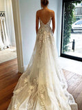 A-Line V-Neck Spaghetti Straps Sleeveless Open Back Appliqued Sweep Train Wedding Dresses,FPWD039