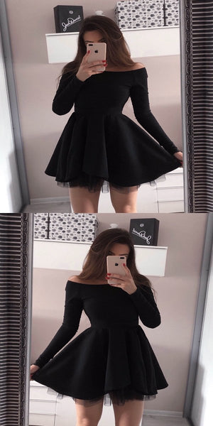 New Arrival A-Line Black Satin Homecoming Dresses With Long Sleeves,FPBD042
