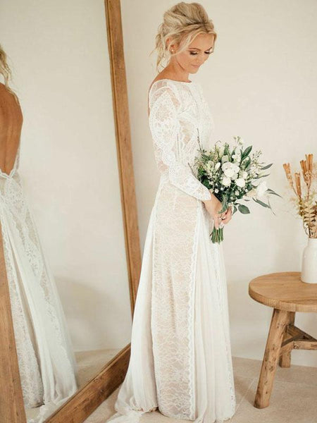 A-Line Scoop Neckline Backless Long Sleeves Beach Wedding Dresses With Lace,FPWD035