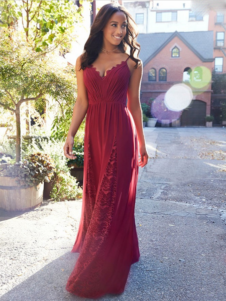 A-Line Mismatched Red Chiffon Long Bridesmaid Dresses With Lace,FPWG046