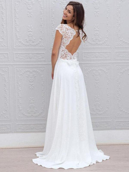 Simple A-Line Scoop Neckline Cap Sleeves Open Back Long Beach Wedding Dresses With Lace,FPWD055