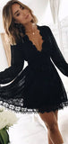 A-Line Deep V-Neck Long Sleeves Black Lace Homecoming Dresses,FPBD037