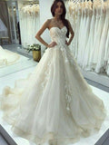 A-Line Sweetheart Sleeveless Sweep Train Wedding Dresses With Appliques,FPWD038