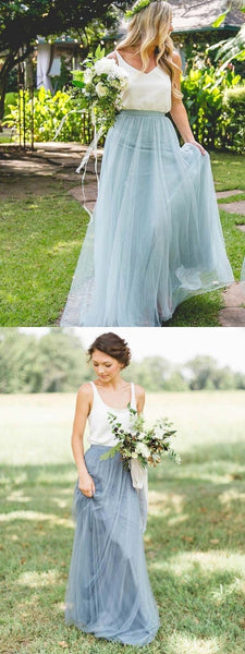 A-Line Two Pieces Scoop Neckline Tulle Long Bridesmaid Dresses,FPWG063