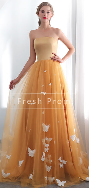 A-Line Strapless Tulle Long Prom Dresses With Appliques,FPPD333